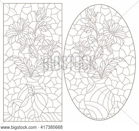 Set Of Contour Illustrations In The Style Of Stained Glass With Floral Still Lifes, Dark Outlines On