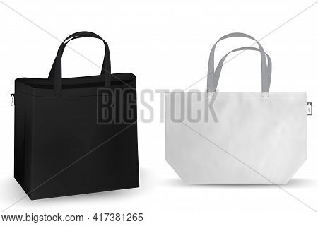 Cotton Bag Mockup, Textile Tote Bag For Shopping Rpet Mockup. Vector Illustration Isolated On White