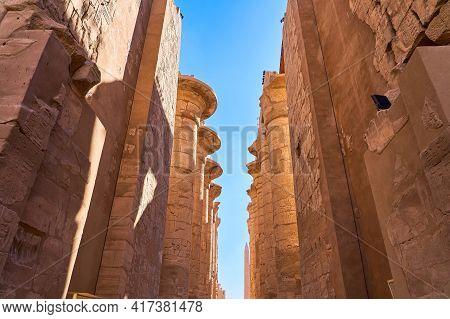 Luxor, Egypt - January 30, 2021 - Famous Landmark In The World Near The Nile River. Massive Columns