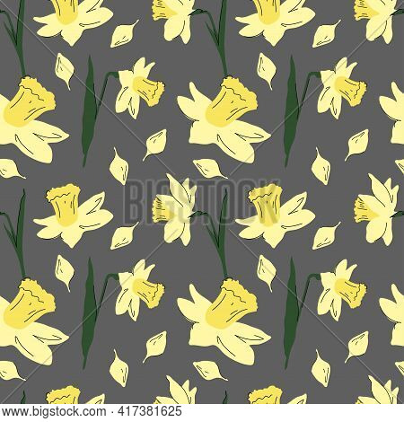 Narcissus Pattern. Seamless Vector Pattern With Daffodil Flowers On Transparent Background.
