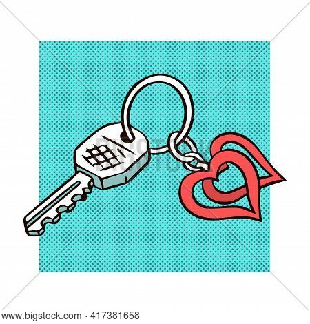 Bunch Of Keys With A Heart Shaped Keychain. Hand Drawn Object. Vector Isolated Illustration Pop Art