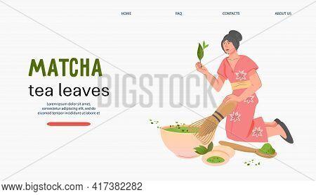 Matcha Green Tea Website Banner Template With Woman Brewing Tea, Flat Vector.