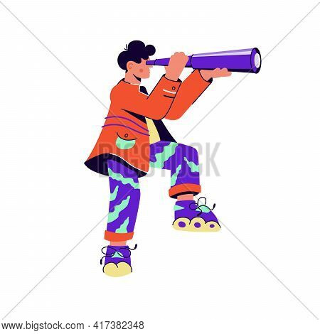 Brave Guy With Skates Looking Through Purple Spyglass