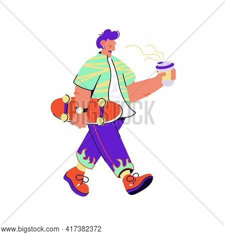 Skater With Coffee Carrying Skateboard On White Background