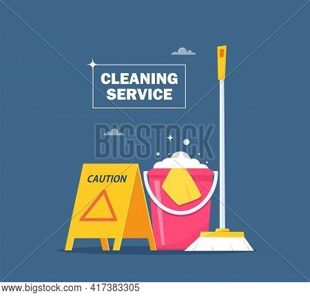 Cleaning Service Concept For Web Banner, Infographic, Poster. Slippery Wet Floor Warning Sign, Bucke