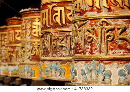 Prayer Wheels at Rumtek Monastery, Gangtok, Sikkim, India.