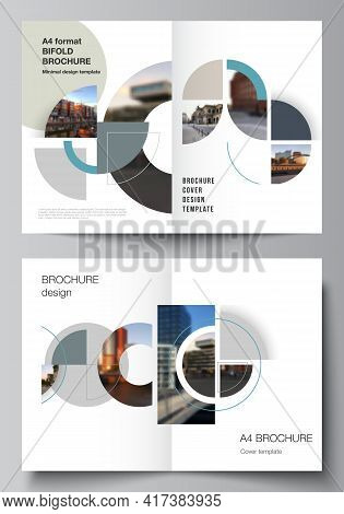 Vector Layout Of Two A4 Cover Mockups Design Template For Bifold Brochure, Flyer, Cover Design, Book