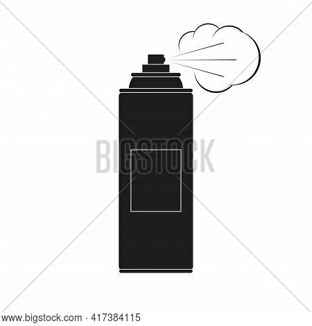 Spray Aerosol Can Icon With Mist Cloud. Vector Illustration