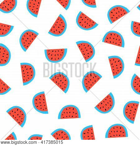 Watermelon Seamless Vector Pattern. Watermelons Repeating Background Red Blue White. Scandinavian St