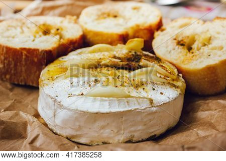 Homemade Diy Baked Camembert With Garlic.cheese With White Mold.baked Cheese.