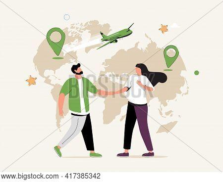 International Employment Abstract Concept Vector Illustration Set. Expat Work, Internship, Arrange A