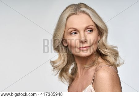 Portrait Of Adult 50 Years Old Model Woman Isolated On White Background Advertising Skin Care Spa Tr