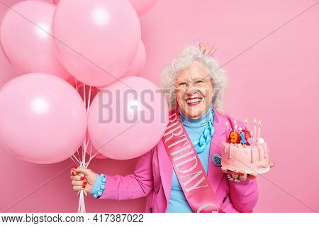 Life Only Start When You Get Older. Glad Wrinkled Old Woman Celebrates Birthday Holds Festive Cake W