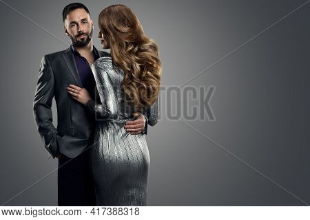 Couple Fashion Woman Man. Beauty Model Hairstyle Back Rear View. Handsome Man In Suit Holding Sexy G