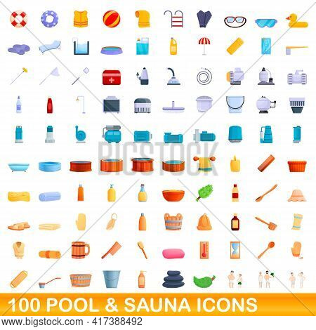 100 Pool And Sauna Icons Set. Cartoon Illustration Of 100 Pool And Sauna Icons Vector Set Isolated O