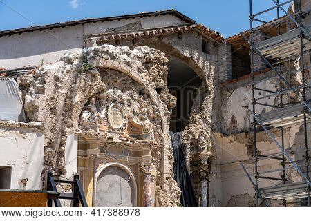 The Historic Center Of Norcia City At July 2020 After The Earthquake Of Central Italy In 2016