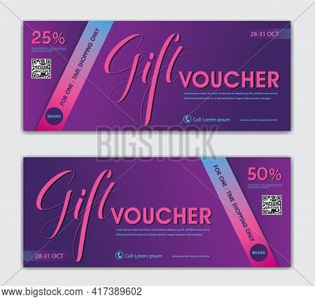 Luxury Gift Vouchers Card Design, Modern Discount Coupon Or Certificate Layout, Purple Gift Voucher