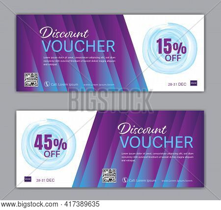 Purple Gift Voucher Template Luxurious Concept, Elegant Discount Coupon Or Certificate Layout, Disco