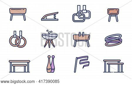 Gymnastics Equipment Icons Set. Outline Set Of Gymnastics Equipment Vector Icons For Web Design Isol