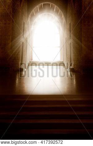 Church Interior. Window Light In Dark Inside Room. Shining Door In Front Empty Steps. Mystery Backgr