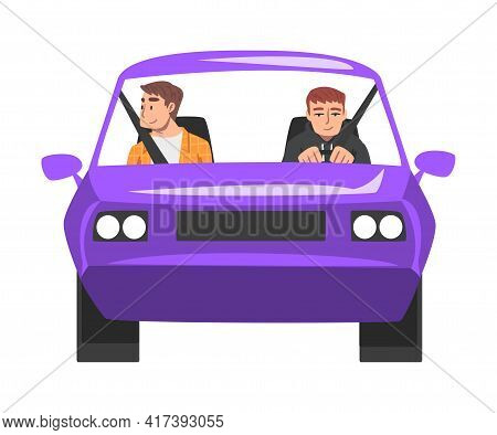 Front View Of People Riding Purple Car, Male Driver Driving Vehicle, Another Man Sitting In Passenge
