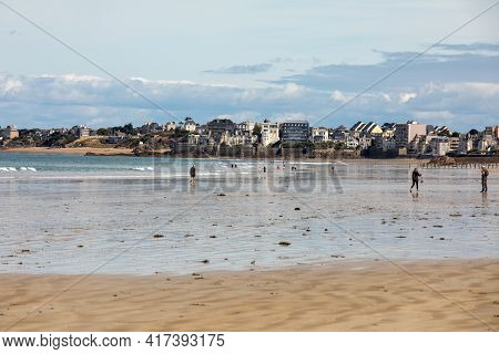 St Malo, France - September 14, 2018: View Of Beach And Old Town Of Saint-malo. Brittany, France