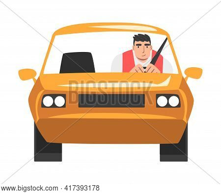 Man Riding Car, Front View Of Male Driver Driving Yellow Vehicle Cartoon Vector Illustration