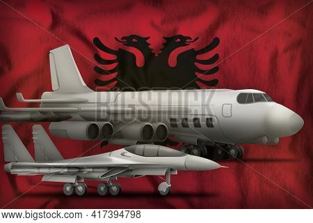 Air Forces On The Albania Flag Background. Albania Air Forces Concept. 3d Illustration