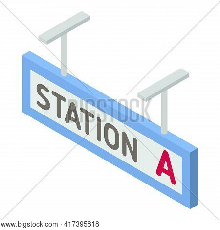 Railway Station A Icon. Isometric Of Railway Station A Vector Icon For Web Design Isolated On White