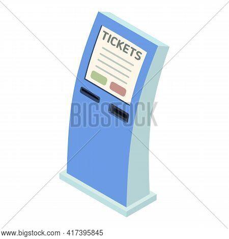 Railway Online Tickets Icon. Isometric Of Railway Online Tickets Vector Icon For Web Design Isolated
