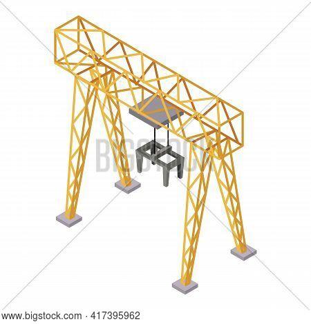 Railway Construction Crane Icon. Isometric Of Railway Construction Crane Vector Icon For Web Design