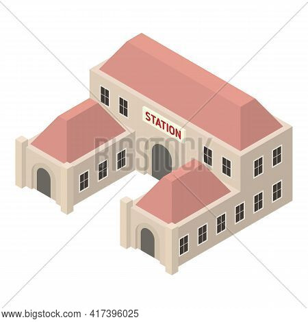 City Railway Station Icon. Isometric Of City Railway Station Vector Icon For Web Design Isolated On
