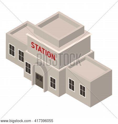 Arabic Railway Station Icon. Isometric Of Arabic Railway Station Vector Icon For Web Design Isolated