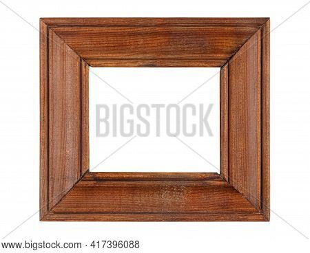 Empty Small Simplicity Dark Brown Wooden Frame For Artwork Or Photo With Wide Border Isolated On Whi
