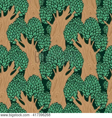 Seamless Pattern With Old Deciduous Trees. Vector Background With Dense Forest In A Flat Cartoon Sty