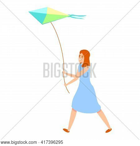 Children Playing Kite Icon. Cartoon Of Children Playing Kite Vector Icon For Web Design Isolated On