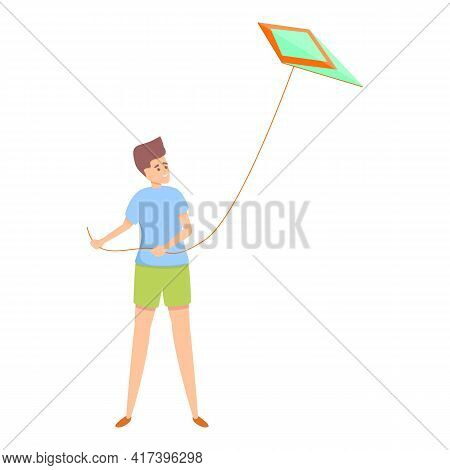 Flying Playing Kite Icon. Cartoon Of Flying Playing Kite Vector Icon For Web Design Isolated On Whit