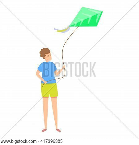 Happy Playing Kite Icon. Cartoon Of Happy Playing Kite Vector Icon For Web Design Isolated On White