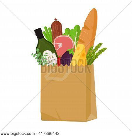 Fresh Food In The Grocery Paper Bag. Flat Design Vector Illustration. Various Food And Beverages, Gr