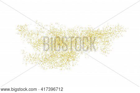 Background Plume Golden Texture Crumbs. Gold Dust Scattering On A White Background. Sand Particles G