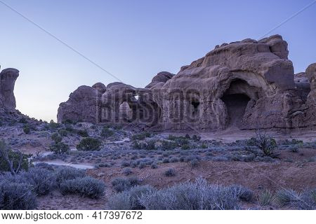Double Arch At Sunset In Arches National Park, Utah, Usa. Spring Time
