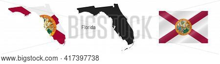 Florida Us State Map With Masked Flag. Detailed Silhouette. Waving Flag. Vector Illustration Isolate