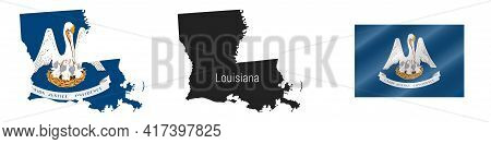 Louisiana Us State Map With Masked Flag. Detailed Silhouette. Waving Flag. Vector Illustration Isola
