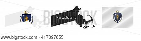Massachusetts Us State Map With Masked Flag. Detailed Silhouette. Waving Flag. Vector Illustration I