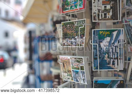 Souvenir Shop. Gifts Displayed Outside A Souvenir Shop In The Village Centre Mijas. Andalusia, Spain