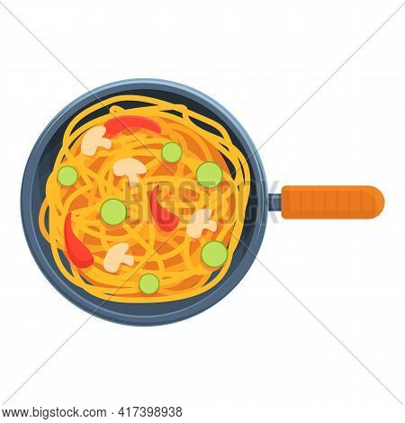 Top View Wok Pan Icon. Cartoon Of Top View Wok Pan Vector Icon For Web Design Isolated On White Back