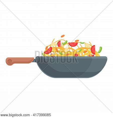 Wok Food Cooking Icon. Cartoon Of Wok Food Cooking Vector Icon For Web Design Isolated On White Back