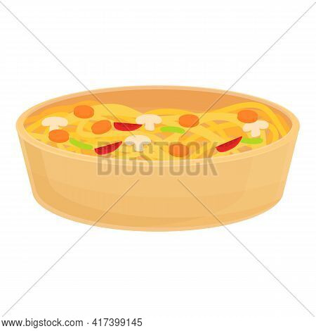 Wok Food Wood Pot Icon. Cartoon Of Wok Food Wood Pot Vector Icon For Web Design Isolated On White Ba