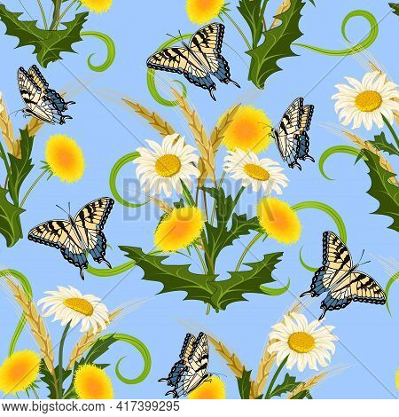 Spikelets And Daisies In A Pattern.vector Pattern With Spikelets, Daisies, Dandelions And Butterflie