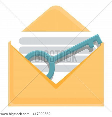 Mail Key Malware Icon. Cartoon Of Mail Key Malware Vector Icon For Web Design Isolated On White Back
